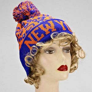 New York Beanie hat w/ pom pom